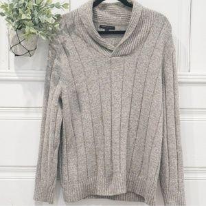 Banana Republic Knit Collared Gray Ribbed Sweater